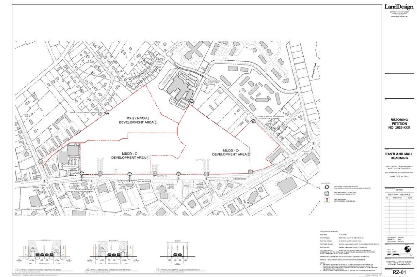 The petition calls for three primary development areas across 78 acres to be rezoned to MX-2, which permits residential mixed-use development, and MUDD-O, or mixed-use development district with optional provisions.